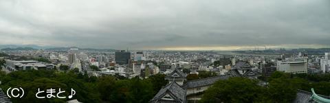 天守から和歌山市内を望む
